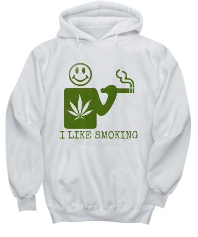 I Like Smoking Hoodie - White w/ Green Logo  #weed #hoodies #cannabis