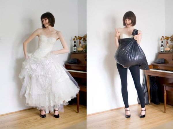How a trash bag helps you go pee all by yourself while wearing big ol' wedding dress | Offbeat Bride