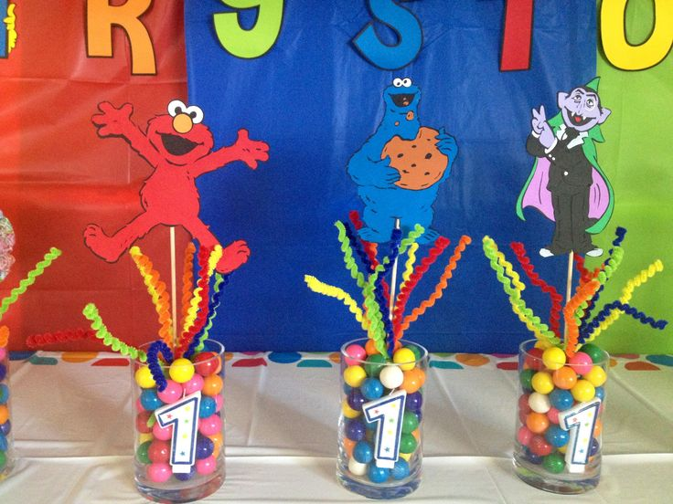 Sesame Street birthday centerpiece