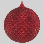 70mm Red Pineapple Matt Bauble with Glitter  Code: BADE007REPIAPPM