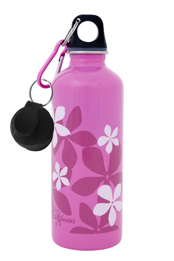 Cheeki Stainless Steel Water Bottle - Frangipani. Smart and trendy Cheeki 500 ml stainless steel water bottles for older  kids and adults alike is a healthy, fun and eco-friendly way to avoid wasting money on bottled water! #bpafree #forkids #formums