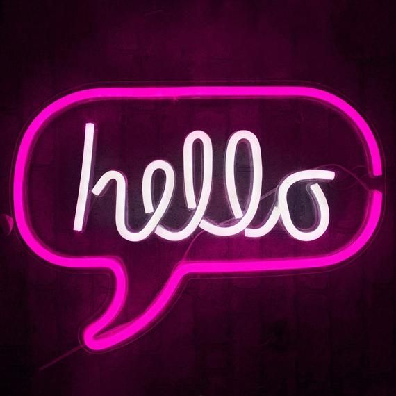Hello Led Light Neon Word Sign Neon Word Letters Light Etsy Neon Sign Bedroom Neon Lights For Rooms Neon Words