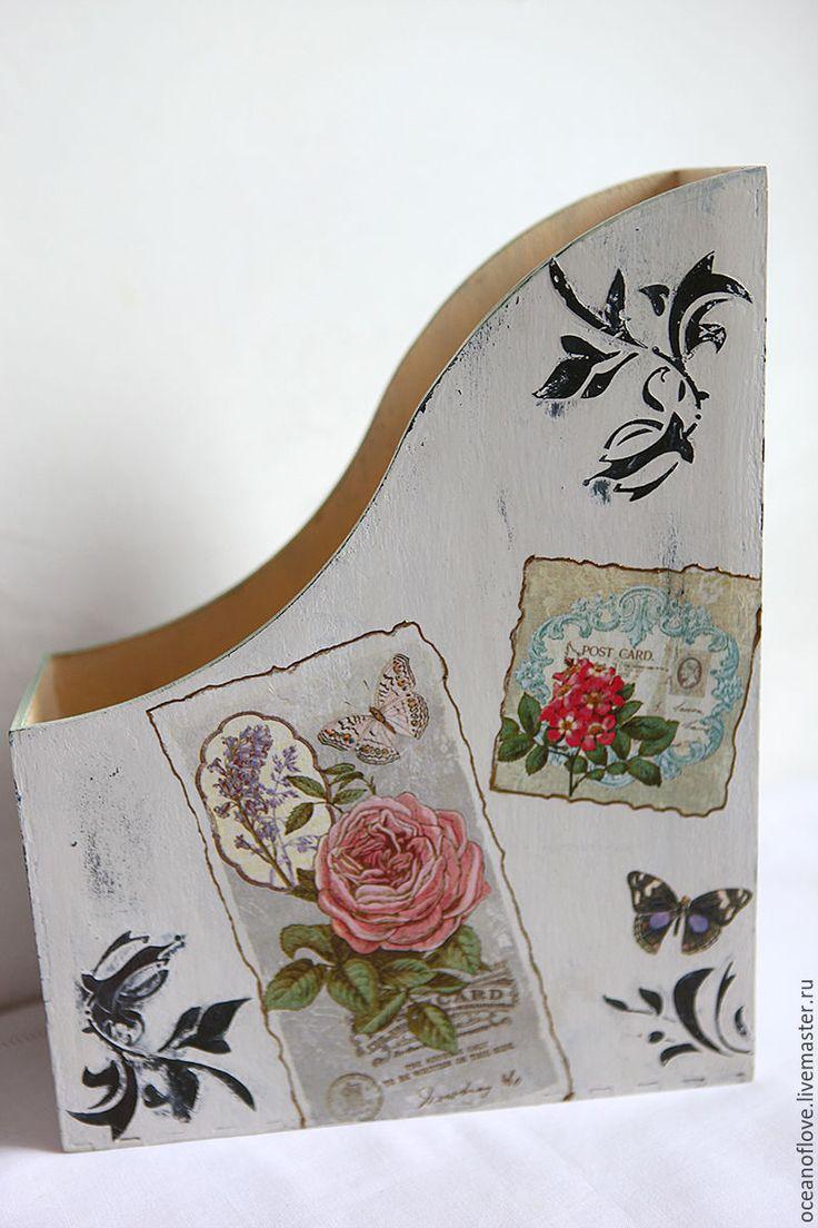 Buy Magazine rack VINTAGE CARD WITH FLOWERS - light grey, multicolor, magazine rack
