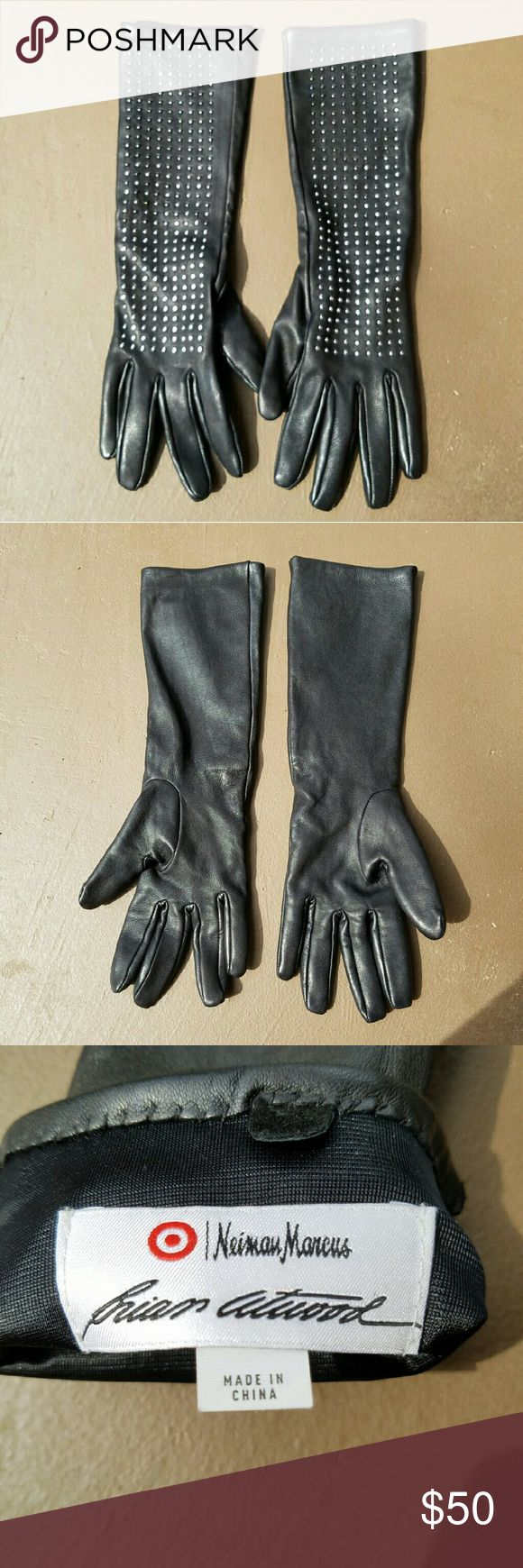 Studded Leather Gloves Elbow length Brian Atwood for Neiman Marcus / Target Slim Gloves. Silver Studded. Fits true to size. 100% sheep leather. Fully lined. Excellent condition. Neiman Marcus Accessories Gloves & Mittens