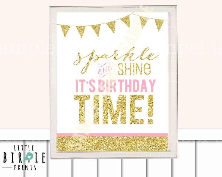 GOUD en roze eerste verjaardag partij decoraties deur Sign