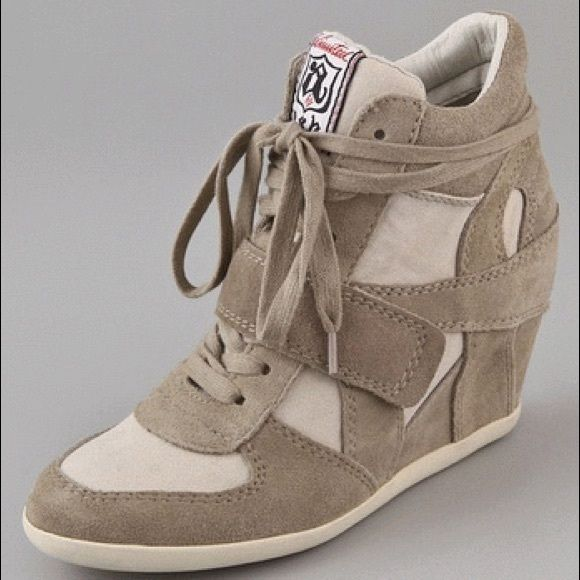 Genuine Ash sneakers Ash bowie wedge sneakers in beige (color: clay white). Ash Shoes Wedges