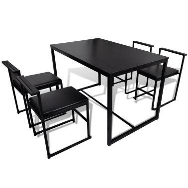 Matsalsgrupp matbord, fyra köksstolar svart[4/5]