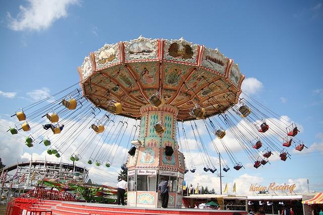 Classic amusement park swings at the Puyallup Fair. Puyallup Washington