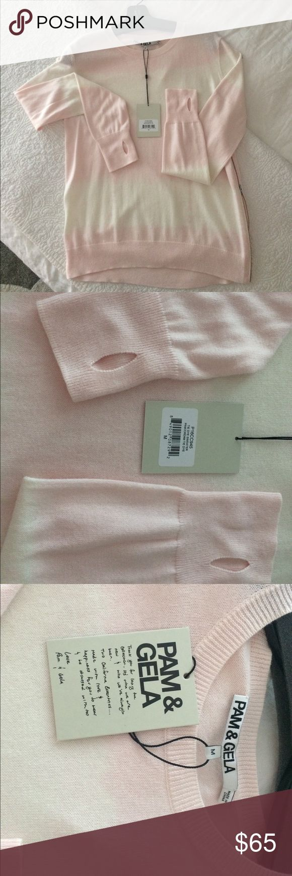 Pam & Gela LS lightweight sweater M 95% cotton and 5% cashmere Long sleeve sweater from Pam & Gela. New with tags. Size medium. Gorgeous pink ombré. Cool detail of thumb holes on the sleeve- see pics. pam & gela Tops Tees - Long Sleeve