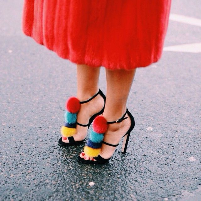 Color block. Pom poms.
