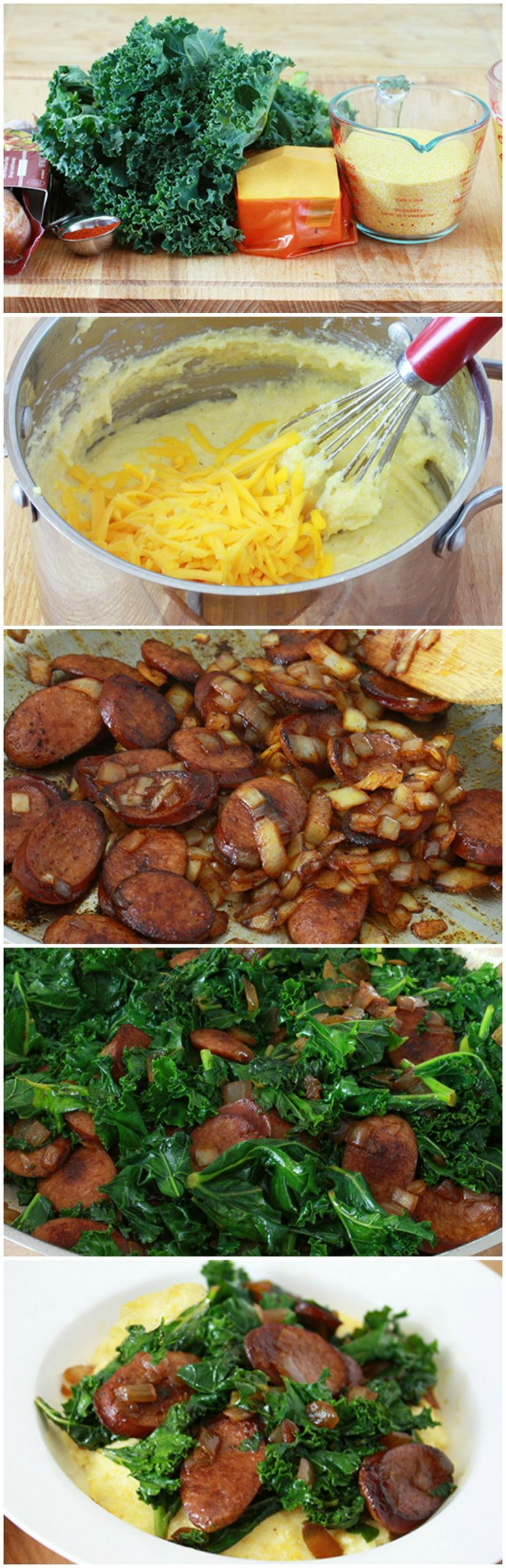 Spicy Sausage, Kale & Cheesy Grits