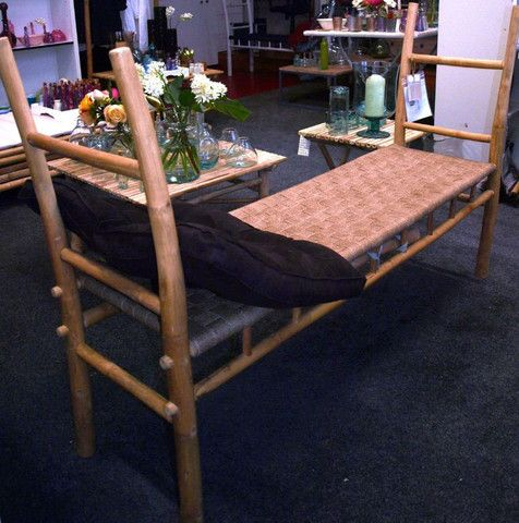Bamboo Alfie Bench with natural woven seat - Complete Pad ®
