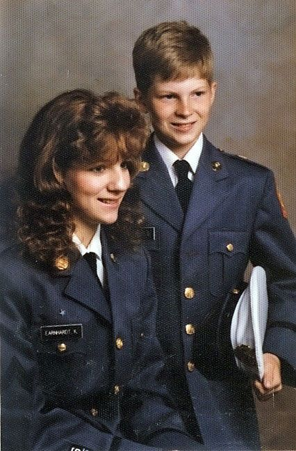 A young Dale Earnhardt Jr. (and his sister Kelley) in their military school uniforms