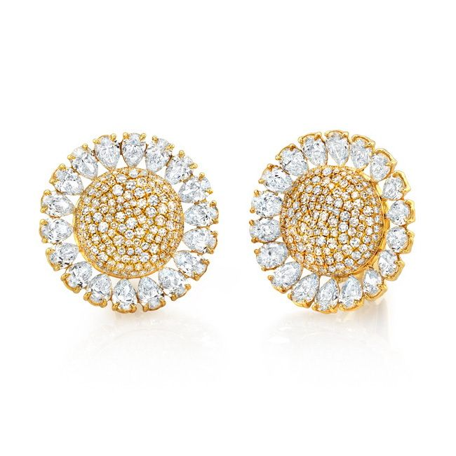 Martin Katz Sunflower Diamond On Collapsable Post Clip Earrings In Yellow Gold 36 Pear Shaped Diamonds Weighing Caraticroset With 358 Round