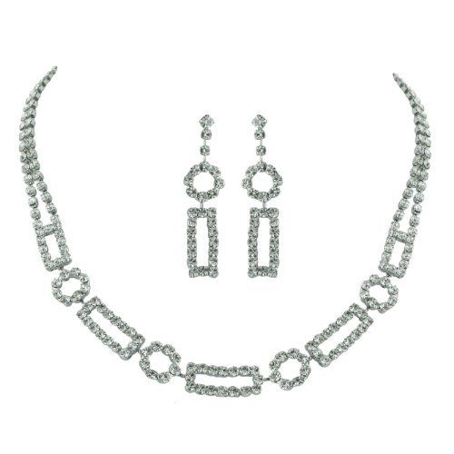 Brass Rhodium 15 inches + 3 Inches extensions Necklace Earrings Colorless Crystal DBL Strand and Open Rectangular Circle Links Silver Empire Jewelry. $25.00. Earring and Necklace Set. Rhodium Plating. Multi Rows. Crystal. Brass. Save 84%!