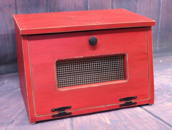 Rustic Antiqued Red Bread Box wood Bin - wooden Storage Primitive Cupboard counter top Country Kitchen handmade bread holder or potatoes