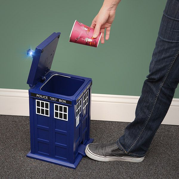 The TARDIS wastebin would make a great gift if you like Doctor Who or not. The best part is that it is sound & light activated when the pedal is pressed. http://hative.com/doctor-who-or-tardis-designs-and-ideas/