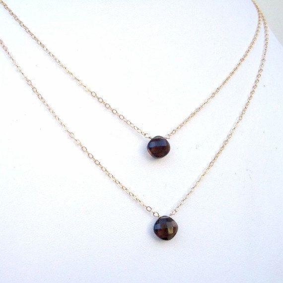 Smoky Quartz Necklaces Gold Jewelry Simple by jewelrybycarmal, $85.00