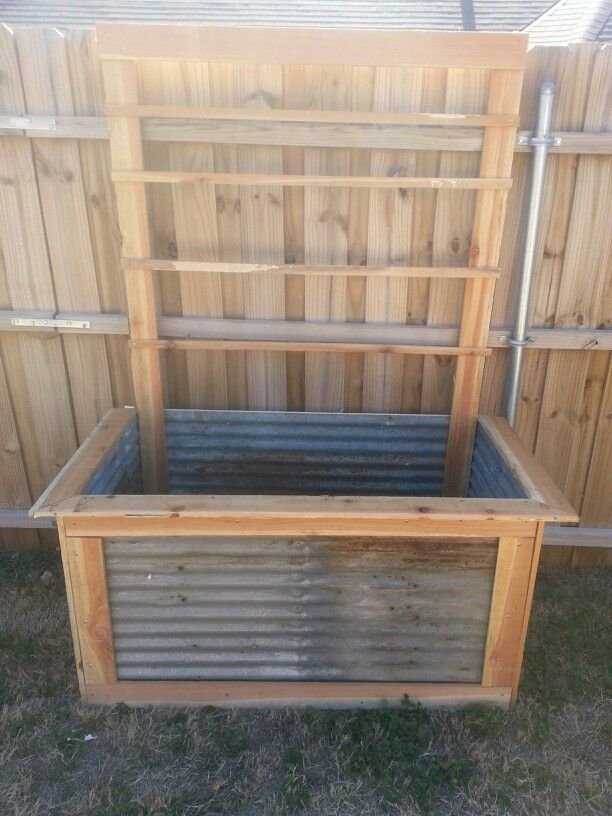 Vegetable Planter Box 4ft X 2ft X 2ft Used Recycled Tin And Cedar Fence Pickets Inspiring