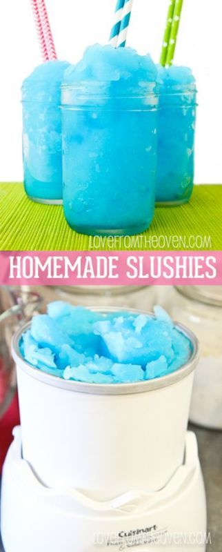 Easy At Home Slushies. These are ridiculously simple to make and the kids LOVE them!  Can even leave out the food coloring.
