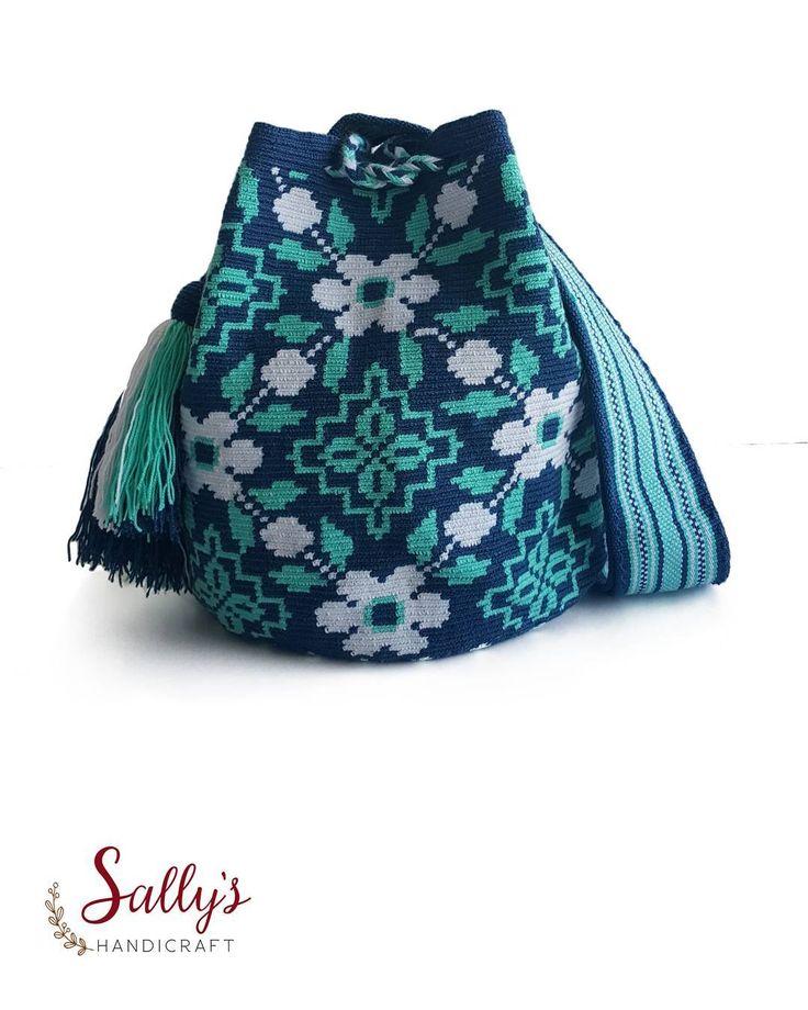 58 отметок «Нравится», 2 комментариев — 100% Original Mochilas Wayúu (@sallyshandicraft) в Instagram: «กระเป๋าวายูแท้คุณภาพสูง+มีเบล %ขายแต่ของแท้ ดั้งเดิม ลายดอกไม้โมโนโทนสีฟ้าเขียว…»