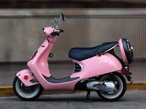 cute pink Moped