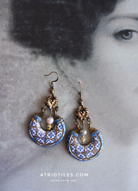 Portugal Antique Azulejo Tile Replica Chandelier Earrings, Murtosa Blue - Bohemian, Arab, Moroccan, Tribal, Gypsy, Boho