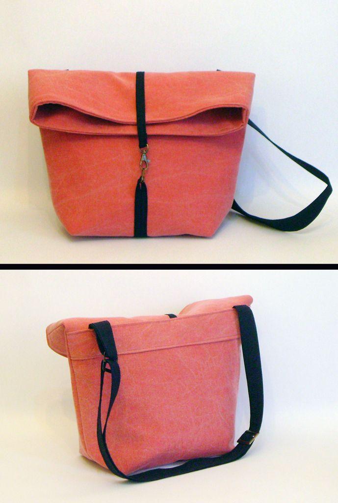 Foldover Messenger Bag Handmade bag 28x37 cm