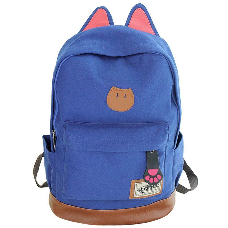 New 2016 Campus Women Girls Backpack Travel Bag Young Canvas Men Backpack Brand Fashion School Sports Bags Cat Ears Bags www.bernysjewels.com #bernysjewels #jewels #jewelry #nice #bags