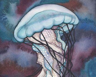 impression de 8,5 « x 11 »    Il sagit dune méduse géante belle. Loriginal est une aquarelle peinte dans des tons de terre ainsi que de riches aqua et teal bleu verts.    Voir plus de mes méduses ici : http://etsy.me/1m3oQbU    Jai un amour profond et son appréciation pour le monde naturel, et jai lhonneur de partager sa beauté avec vous.