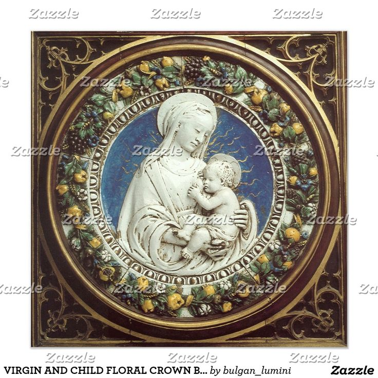 VIRGIN AND CHILD FLORAL CROWN Blue Gem Christmas Invitation  Card #xmas #angel #religious #fineart #christian #madonna