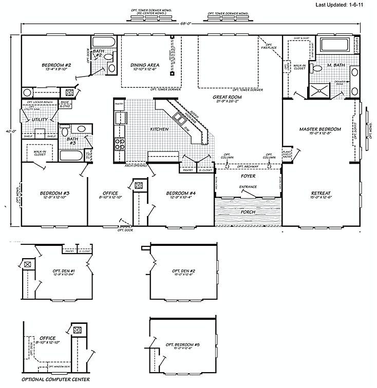 5 bedroom triple wide mobile homes floor plans for 5 bedroom modular house plans