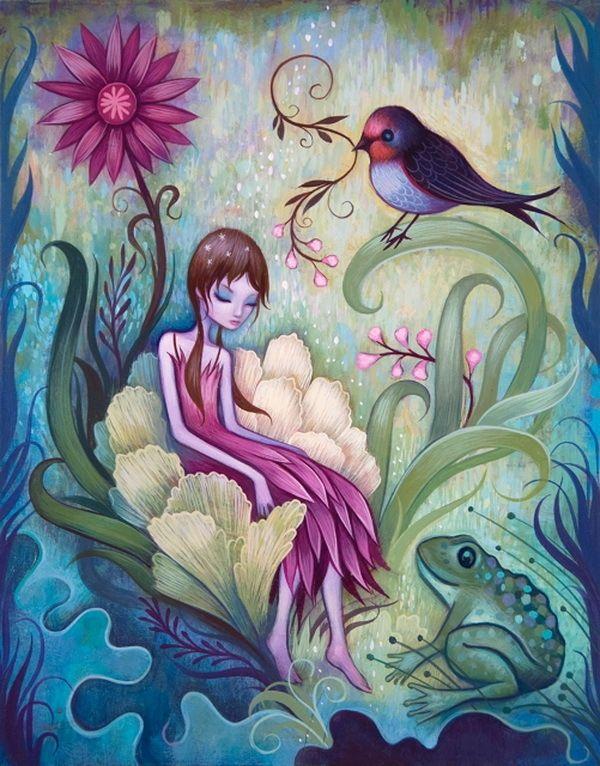 Girl Sitting in Flower -  Fantasy Girl Paintings  by Jeremiah Ketner via myartmagazine.com♥♥