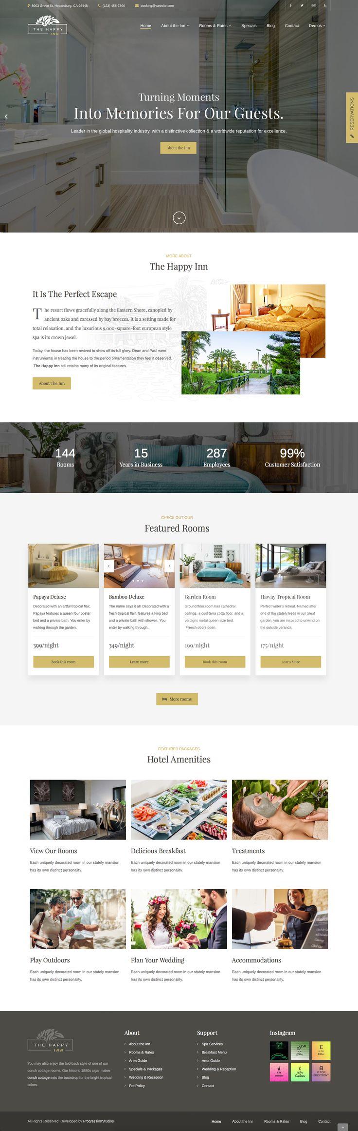 The Happy Inn #wordpress #business #hotel #hotel directory • Download ➝ https://themeforest.net/item/the-happy-inn-hotel-bed-breakfast-theme/19710298?ref=pxcr