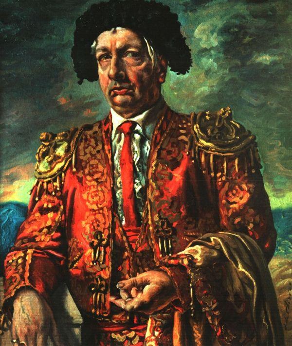 Giorgio de Chirico (1888 -  1978) was een Grieks-Italiaanse schilder. De Chirico was van grote invloed op het werk van René Magritte. Magritte schreef dat in het schilderij Het liefdeslied de poëzie boven de schilderkunst uitsteeg, een ontdekking die hem tot tranen roerde. De onverwachte combinatie van een rubberen handschoen en een antiek borstbeeld vindt hij een nieuwe visie op de kunst, vrij van stereotiepe gewoontes van de geest. Zelfportret als torero