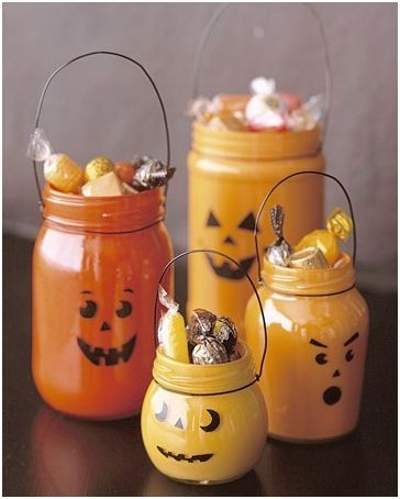Make Jar-O-Lanterns    Use that old pickle jar to make a nice little lantern to sit on the kitchen table. Just paint the inside of the jar and use a permanent marker on the outside to draw pumpkin faces. by Klombardo36