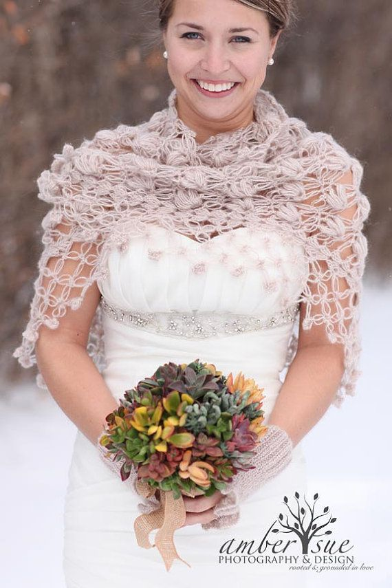 Bridal Shrug Shawl Wedding Beige Crochet Bolero And Winter White Cover Up