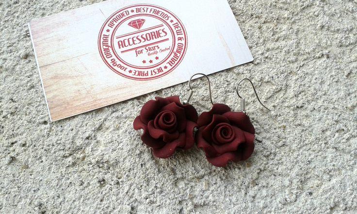 http://accessoriesforstars.blogspot.ro/ #burgundy #marsala #rose #roses #earrings #polymer #fimo #accessoriesforstars #