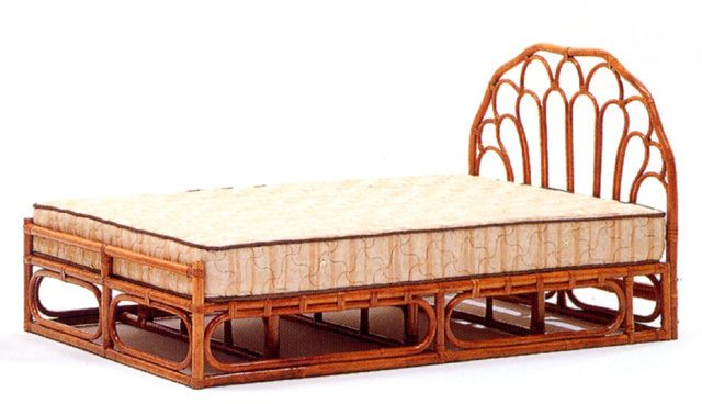 籐・ラタンのシングルベッド本体フレームのみ/W100×D200×H100(SH27)/送料無料/KZR-824-FF