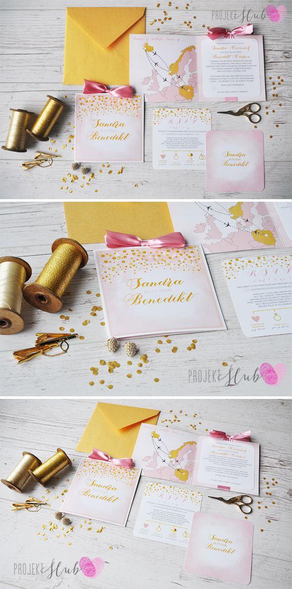 Pudrowy róż, konfetti, złoto, pastele http://projektslub.blogspot.com/2016/12/zaproszenia-slubne-z-motywem-konfetti.html