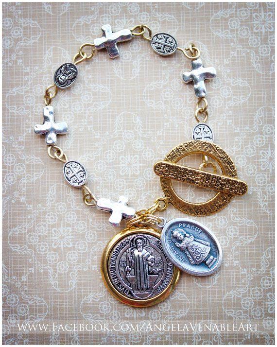 Sideways Cross Bracelet  Religious Jewelry  by AngelaVenArtwork