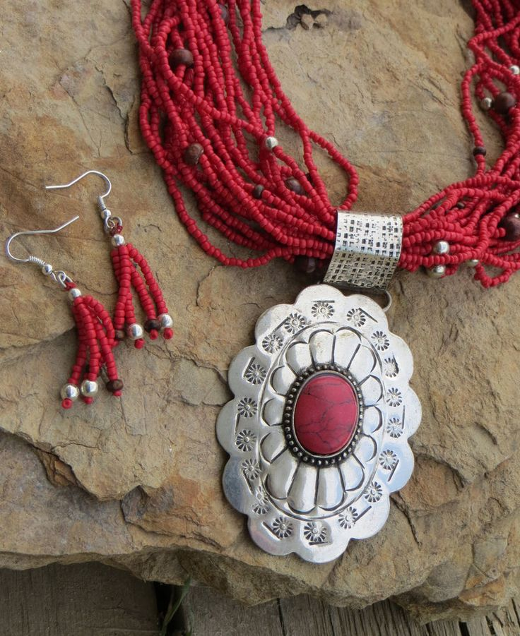 Cowgirl Bling FLOWER RED Beaded Necklace set Silver Indian Gypsy western #royalmustang