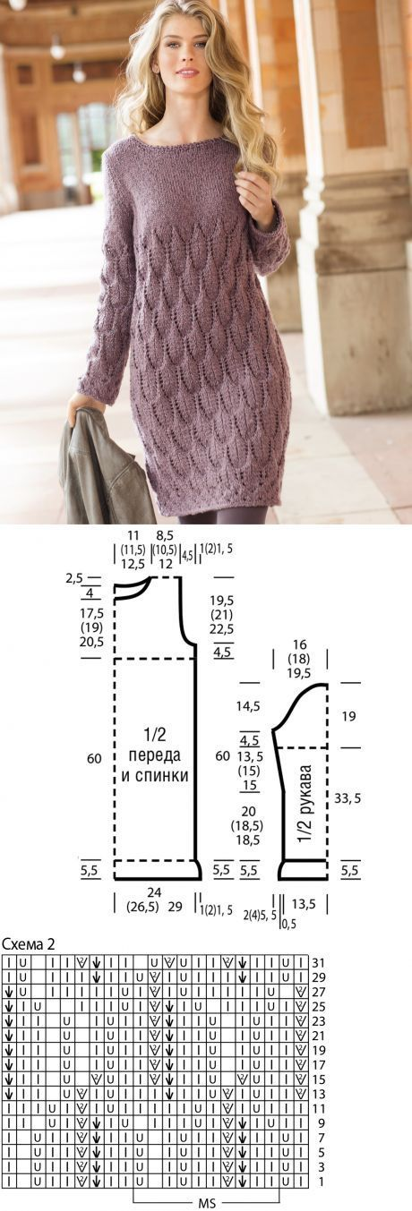 "Dress with a pattern from ""leaves\"" - the scheme of knitting by spokes. We knit Dresses on Verena.ru"