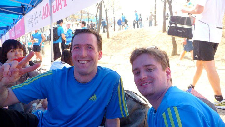 Completing the 10km Han River Marathon after only 5 days' training. (2010)