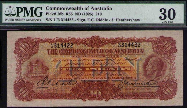 Australia Pick# 18b R55 ND1925 10 Pounds-Riddle/Heathershaw. VERY FINE PMG 30