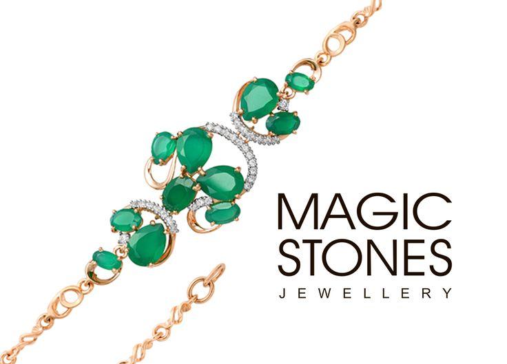 Золотой браслет с агатом и фианитами MAGIC STONES Зеленый агат охраняет семейные узы и домашний очаг.  арт 08-1-012-09  вес 6,73 гр. #браслет #агат #подарки #семья