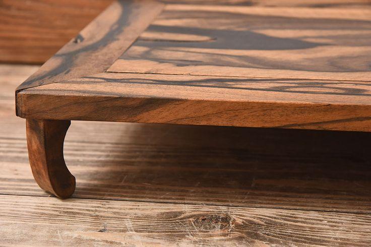 和製アンティーク 黒柿無垢材!古い杢目が味わい深い小さな花台(飾り台)(1)
