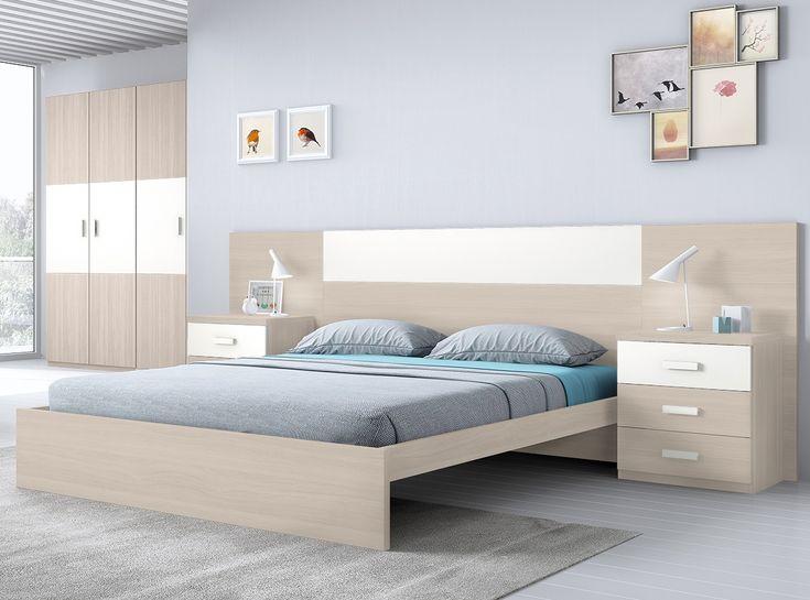 Dormitorio bicolor con 2 mesitas de 3 cajones.