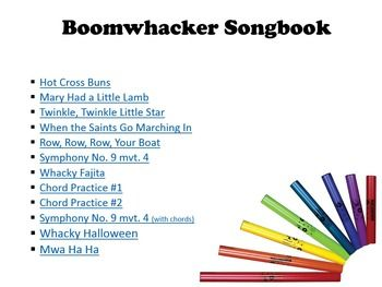 This is a PowerPoint presentation in songbook form with color coded notes for Boomwhackers.  Songs range from easy to hard. My students have loved this! My older ones recognize these songs from Recorder Karate and love playing them on Boomwhackers.     Songs included are:  Hot Cross Buns Mary Had a Little Lamb Twinkle, Twinkle Little Star When the Saints Go Marching In Row, Row, Row, Your Boat Symphony No. 9 mvt. 4 Whacky Fajita Chord Practice #1 Chord Practice #2 Symphony No. 9 mvt. 4 (with…
