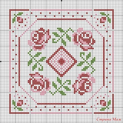Cross-stitch Biscornu pattern ... no color chart available, just use the pattern chart as your color guide..